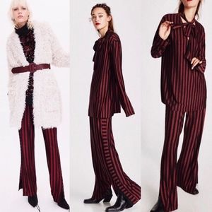 Zara striped wide leg trousers